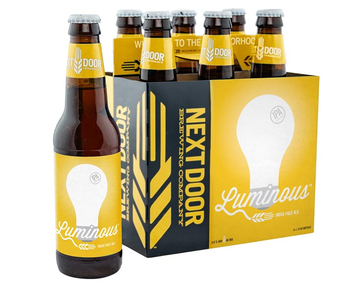 Packaging design for Next Door Brewing's India Pale Ale, Luminous