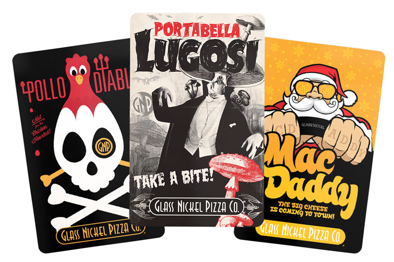 Gift card designs for Glass Nickel Pizza featuring artwork from their past Pizzas of the Month