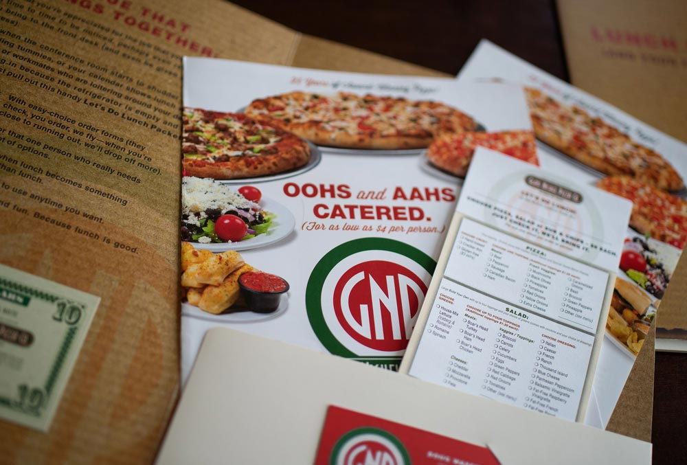 Catering packet design for Glass Nickel Pizza