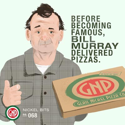 Illustration created for Glass Nickel Pizza's social media featuring Bill Murray