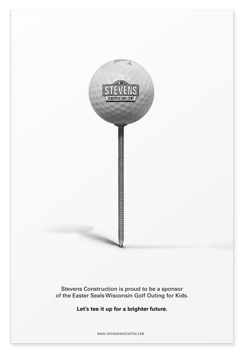 Full page sponsorship ad featuring a golf ball on a nail