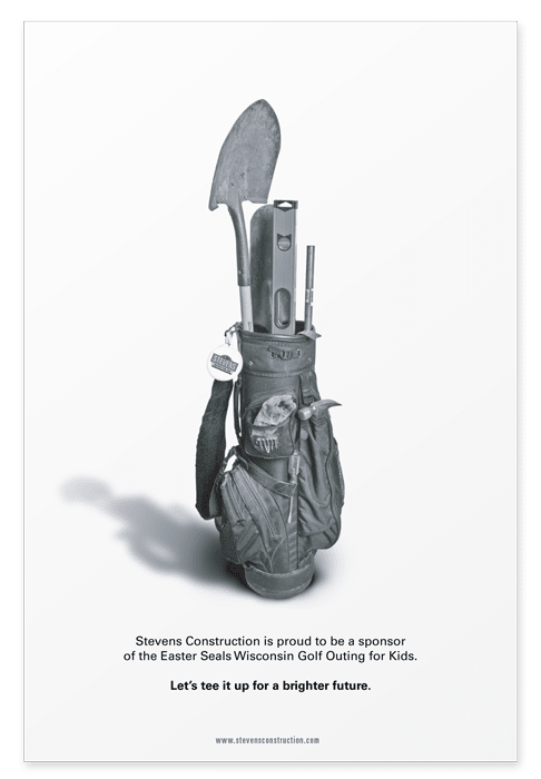 Full page sponsorship ad featuring a golf caddy holding construction tools