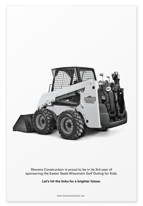Full page sponsorship ad featuring a skid-steer loader as a golf cart
