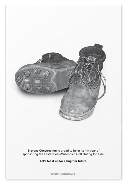 Full page sponsorship ad featuring construction boots with golf cleats