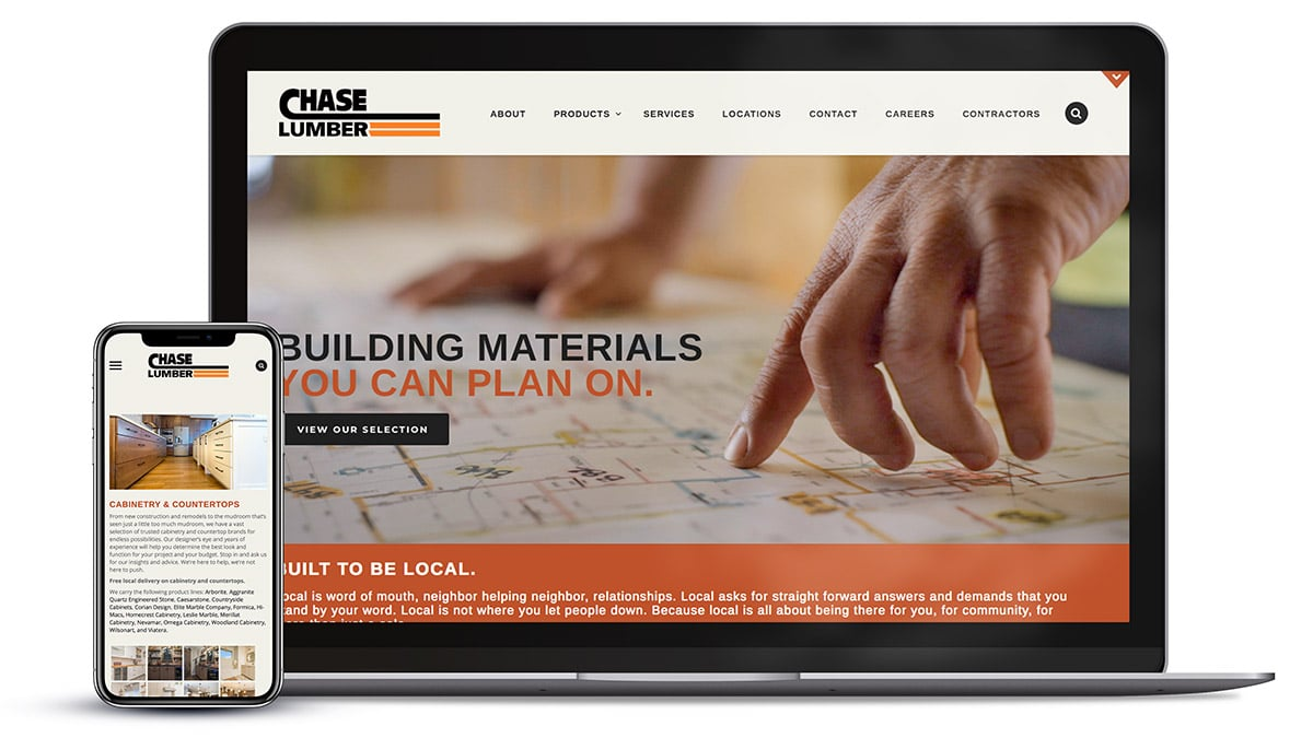 Responsive website design for Chase Lumber