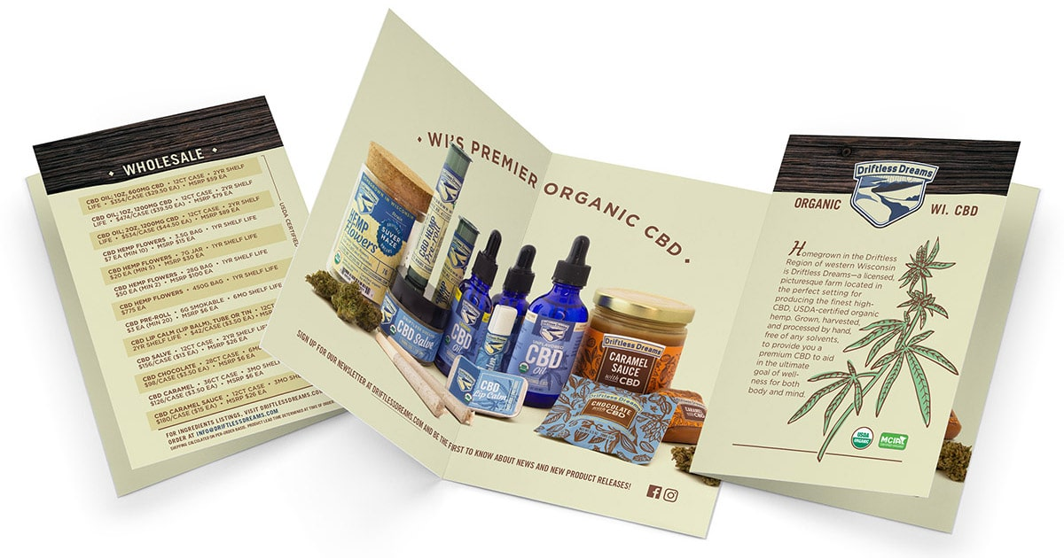Flyer design for Driftless Dreams wholesale products