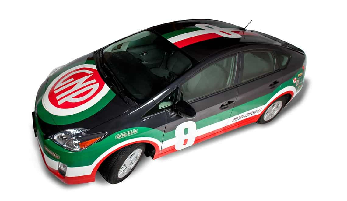Glass Nickel Pizza car wrap design shown from the side