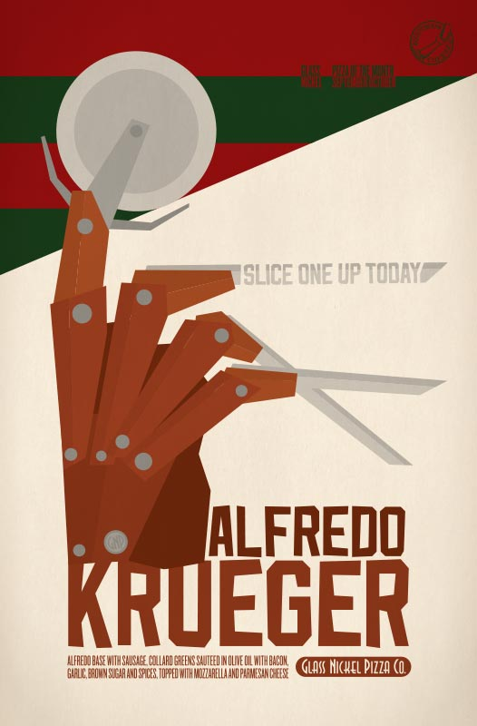 Poster design for Glass Nickel Pizza's Pizza of The Month, Alfredo Krueger