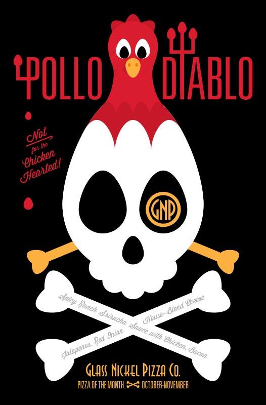 Poster design for Glass Nickel Pizza's Pizza of The Month, Pollo Diablo
