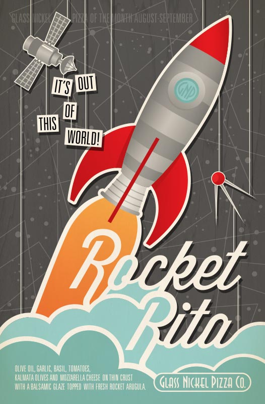 Poster design for Glass Nickel Pizza's Pizza of The Month, Rocket Rita