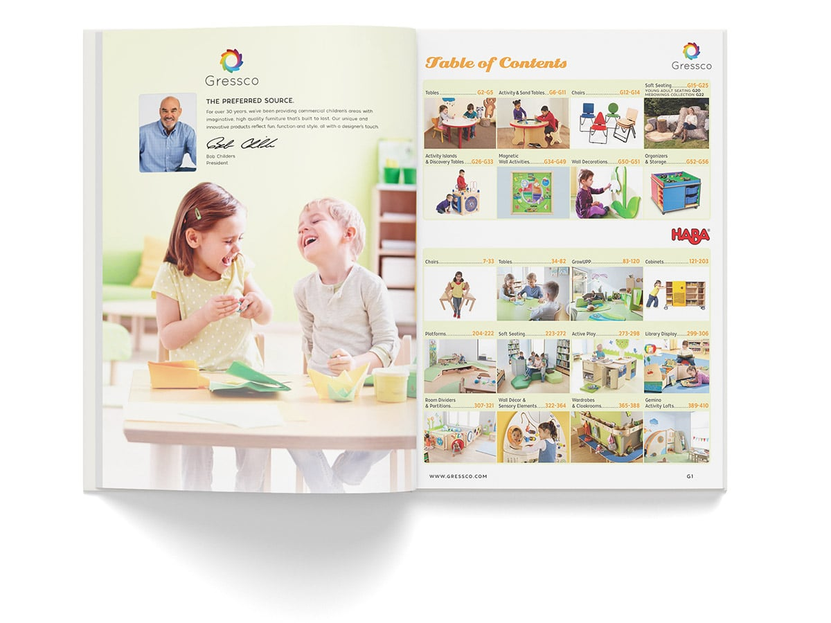 Catalogue spread design for pages 1 and 2 for Gressco