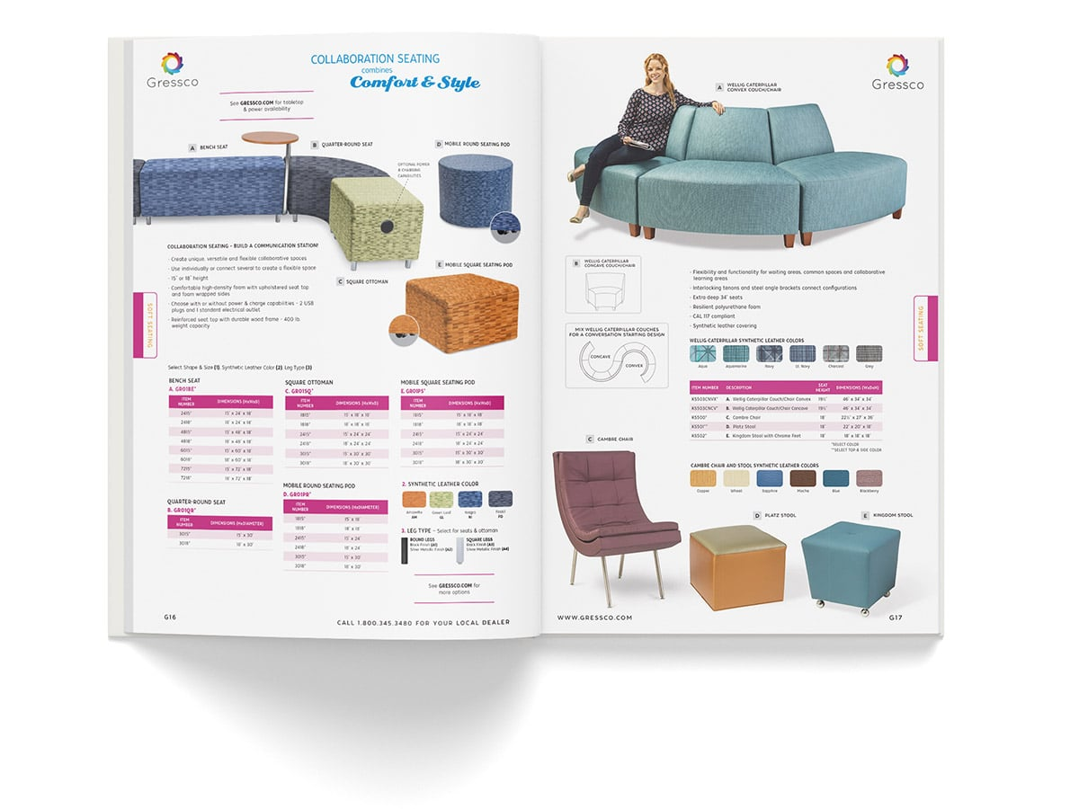 Catalogue spread design for pages 16 and 17 for Gressco