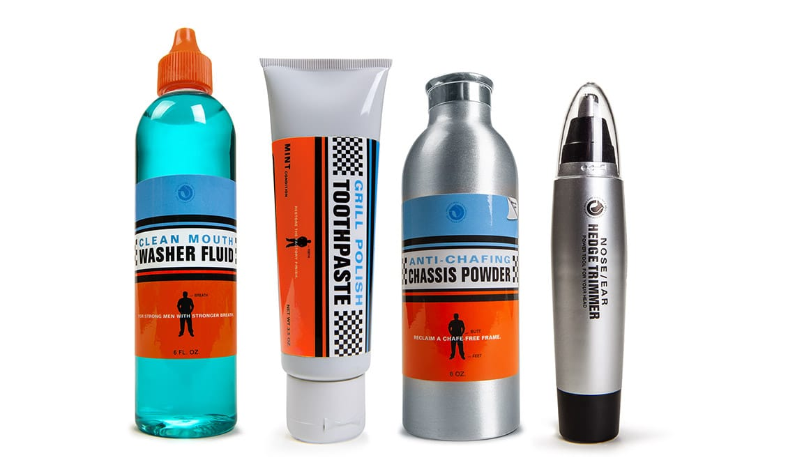 Packaging design for Hound's Head Mouth Wash, Toothpaste, Anti Chafing Powder, and Nose Trimmer
