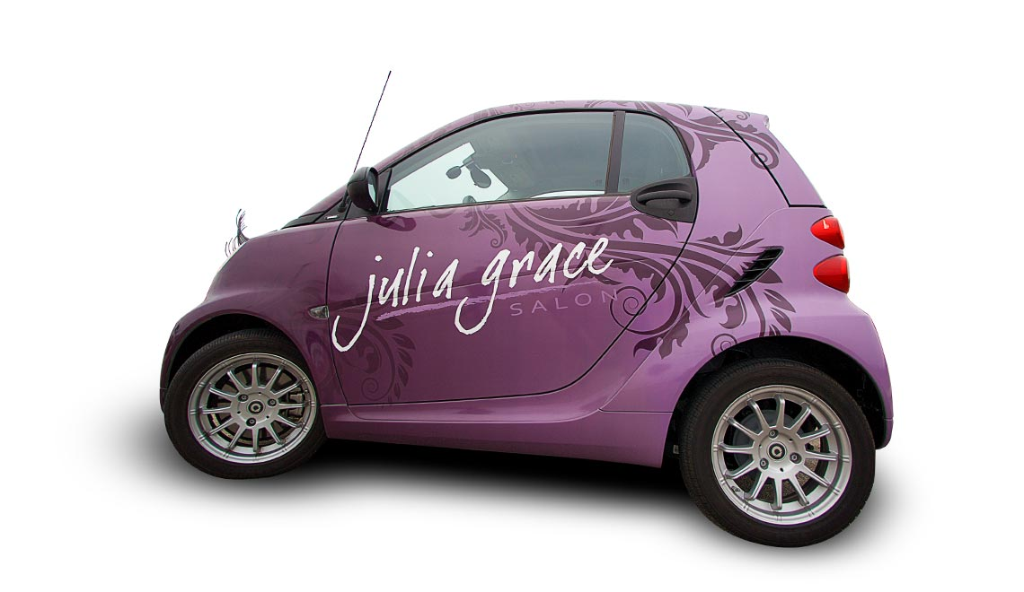 Julia Grace Salon car wrap design shown from the side