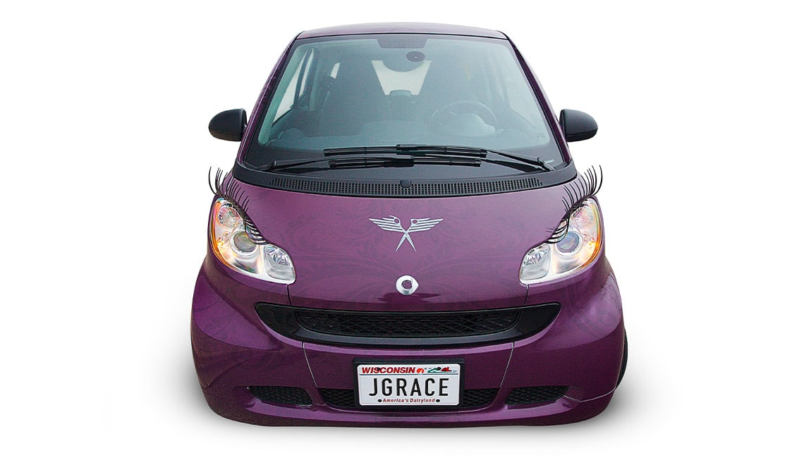 Julia Grace Salon car wrap design shown from the front