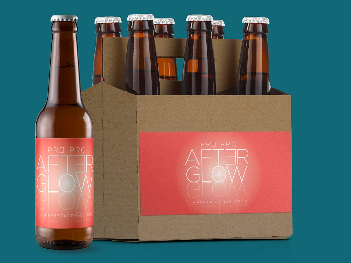 Label design for Mirror 34 Productions' promotional beer, After Glow