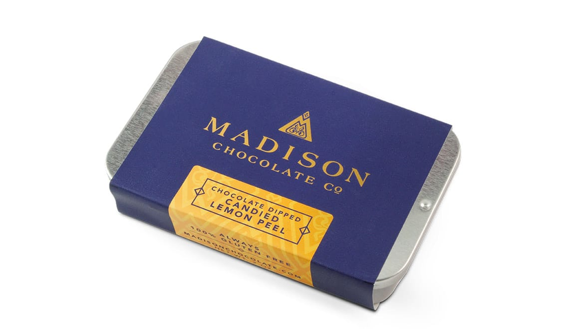 Madison Chocolate Company candied lemon peel packaging