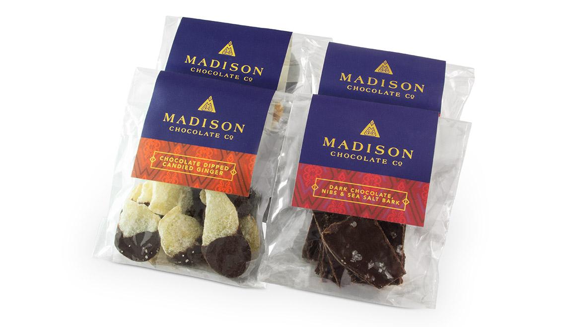 Madison Chocolate Company fruit bark packaging