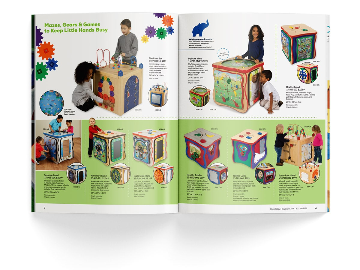 Catalogue spread design for pages 3 and 4 for Playscapes