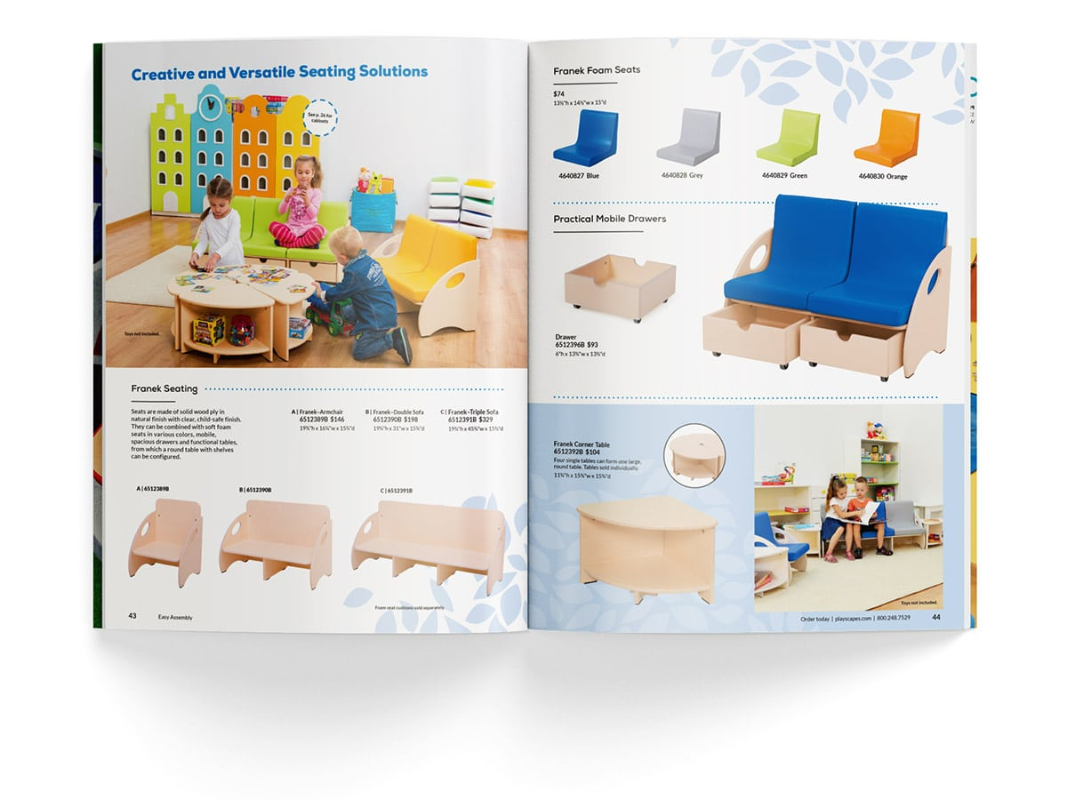 Catalogue spread design for pages 43 and 44 for Playscapes