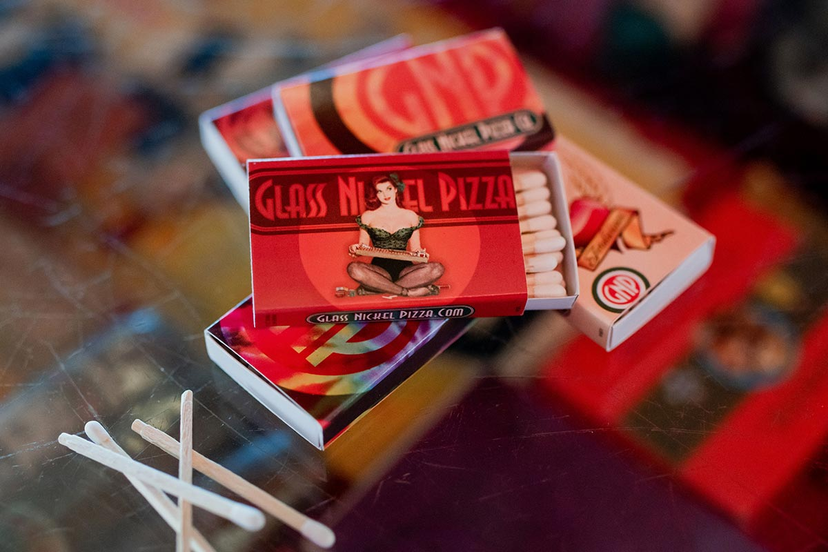 Promotional match box design for Glass Nickel Pizza