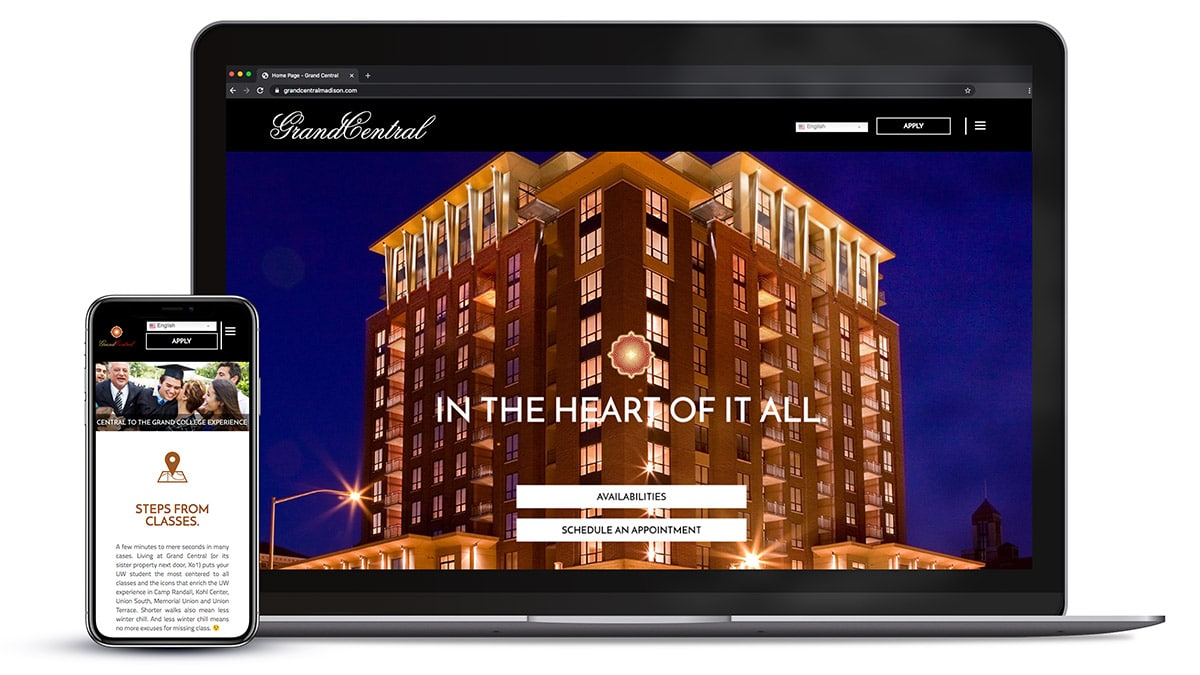 Responsive website design for Grand Central Apartments