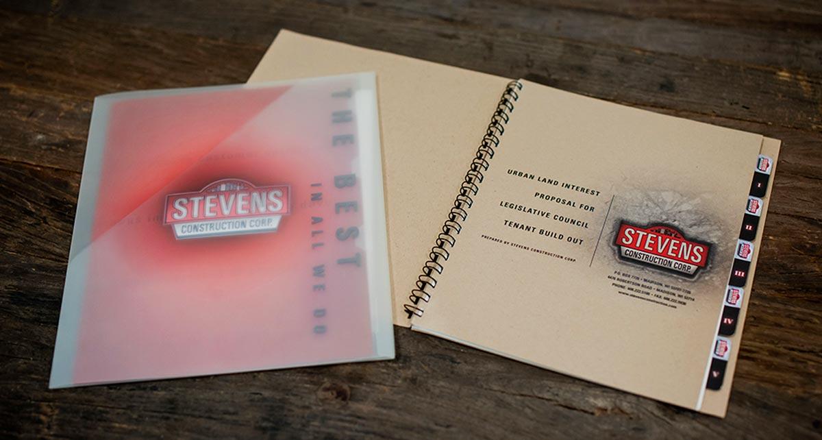Presentation kit design for Stevens Construction