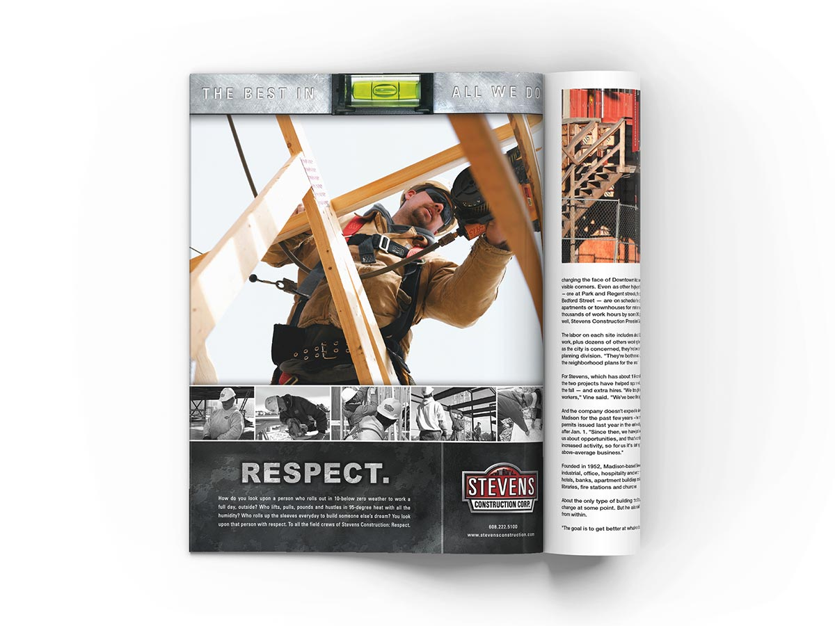 Full page magazine advertisement design featuring a low angle shot of a construction worker