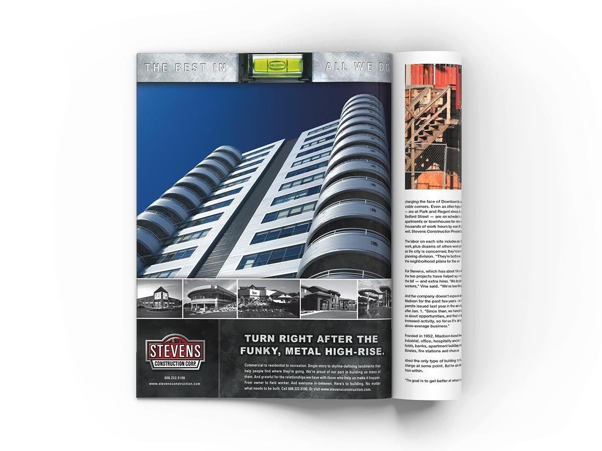 Full page magazine advertisement design featuring a low angle shot of a high-rise building