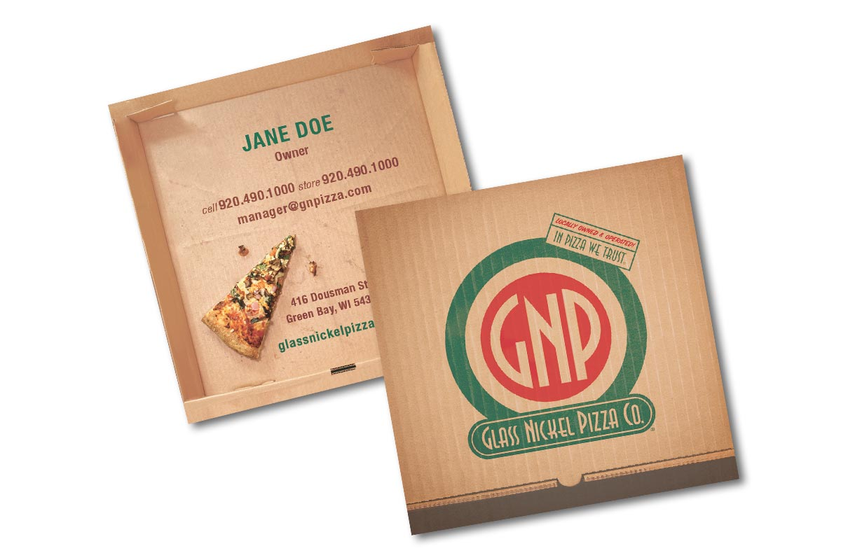 Square business card designs for Glass Nickel Pizza