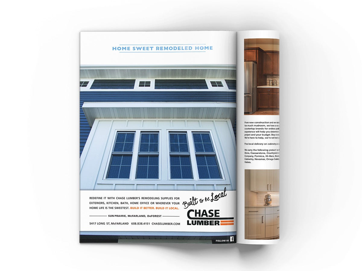 Full page magazine advertisement design featuring a home's windows shot from a low angle