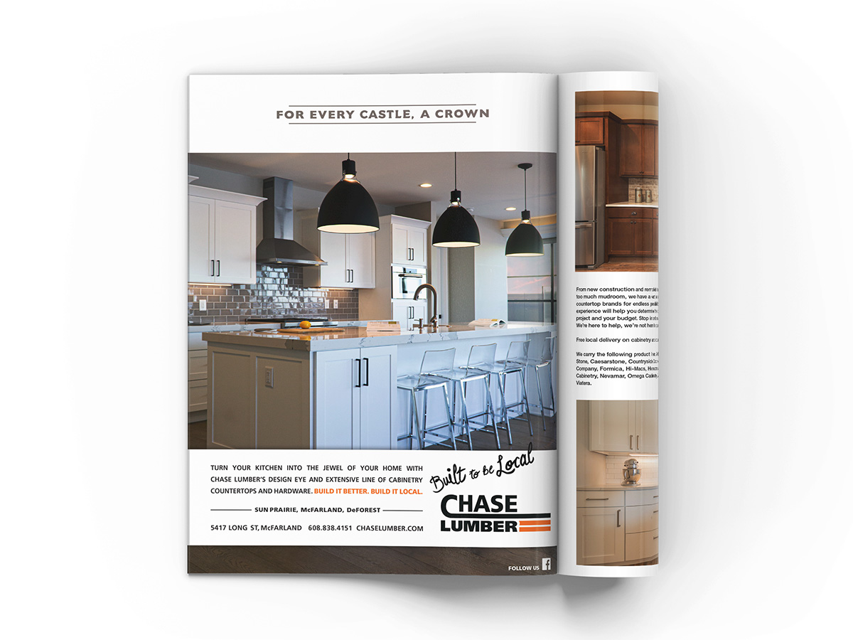 Full page magazine advertisement design featuring a newly designed kitchen