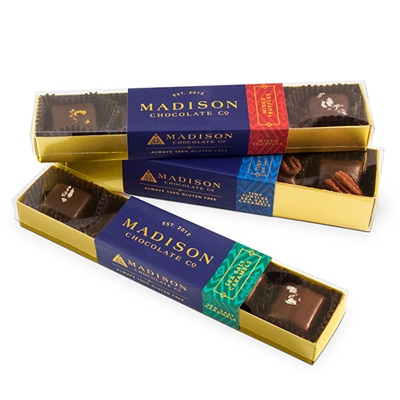 Packaging for Madison Chocolate Company truffles and caramels